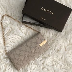Gucci White Leather Chain Wallet